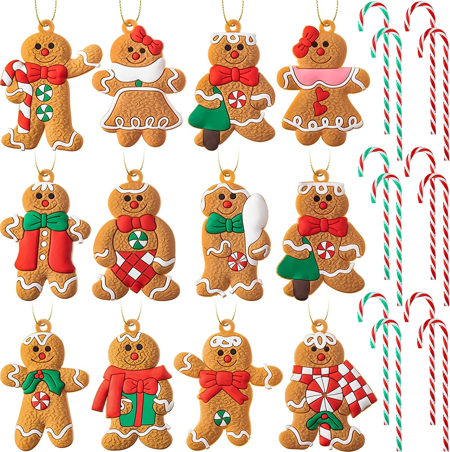 24 Pieces Christmas Candy Canes and Gingerbread Man Ornaments Acrylic Candy Canes Christmas Gingerbread Hanging Ornament Christmas Tree Hanging Decorations for Christmas Tree Home and Party Decor