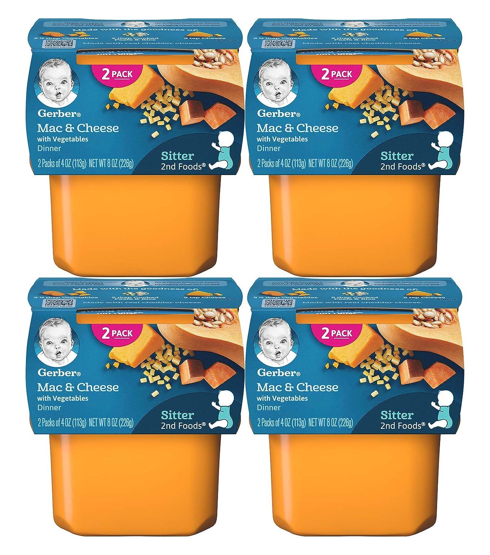 Gerber 2nd Foods Baby Food Tubs, Mac & Cheese with Vegetables Dinner, 4 OZ Tubs, 2 Tubs/Pack (Pack of 4)