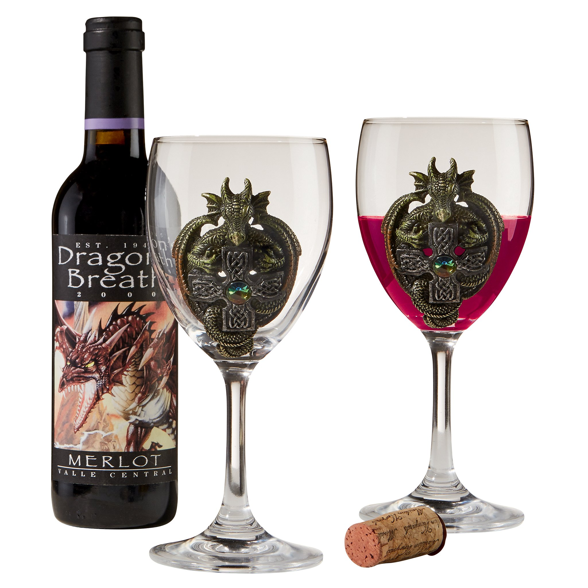Design Toscano The The Order of The Celtic Dragon Glass Goblets, Full Color