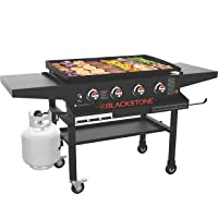 Blackstone 1984 Original 36 Inch Front Shelf, Side Shelf & Magnetic Strip Heavy Duty Flat Top Griddle Grill Station for Kitchen, Camping, Outdoor, Tailgating, Black