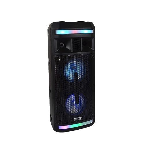 DYNASONIC DY 65201 Altavoz Inalámbrico Sistema de Audio Bluetooth Altavoz Portatil USB Luces Multicolor Radio FM Micrófono Color Negro