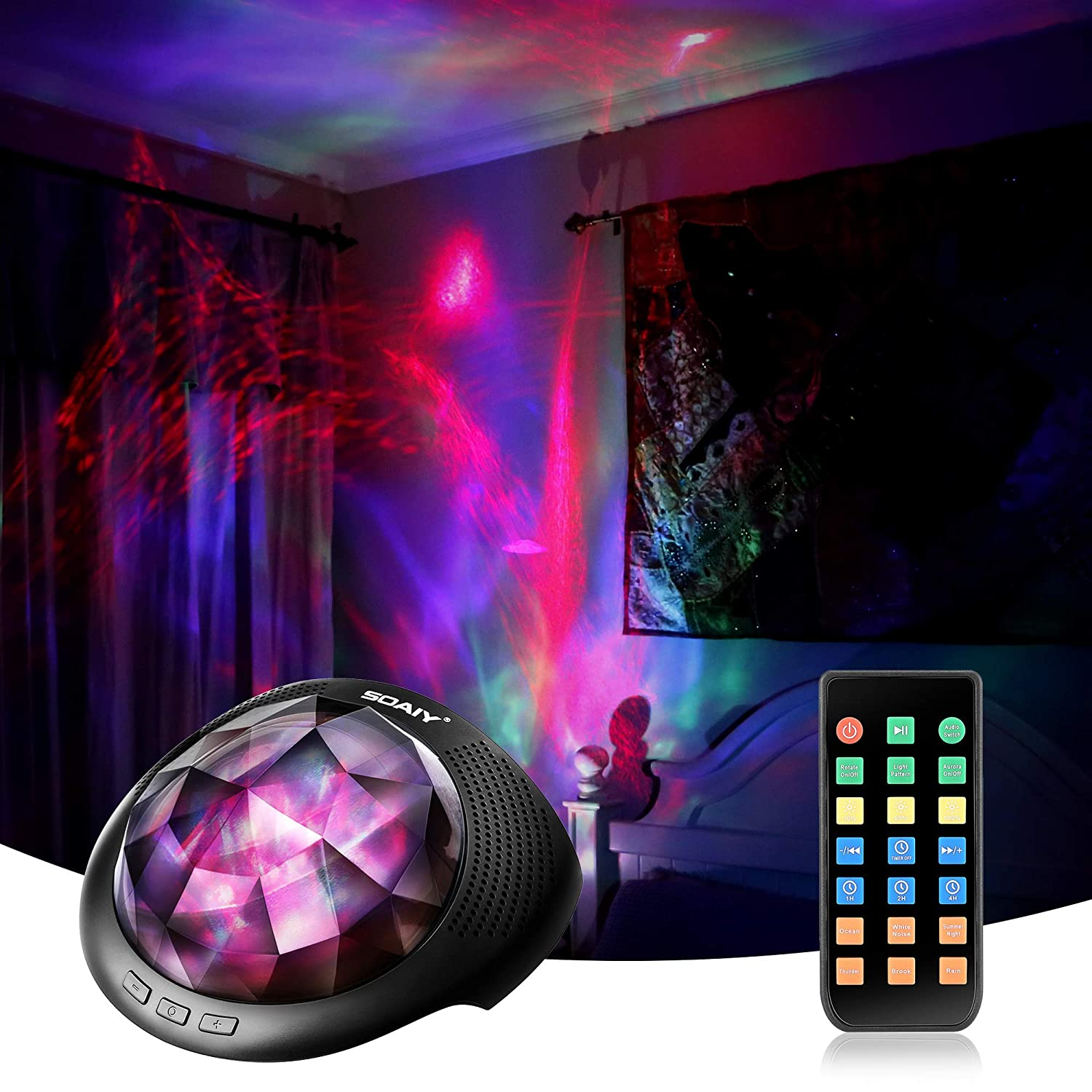 Soaiy Aurora/Northern Light Projector with White Noise Sound Machine, Bluetooth Speaker/Timer/Remote, LED Moving Aurora Bedroom Ceiling Projector Light for Adults, Baby, Kids Sleep Relax Therapy