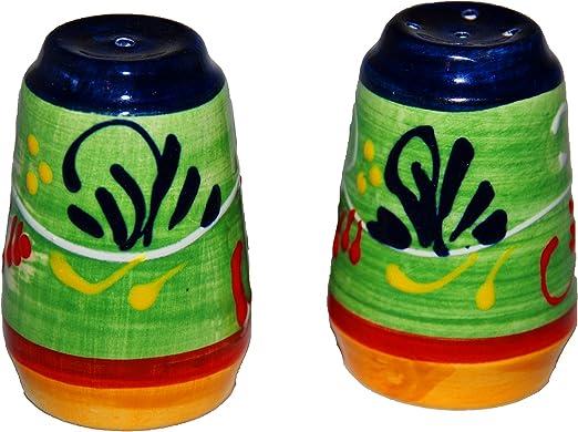 Salero y pimentero cerámica verde
