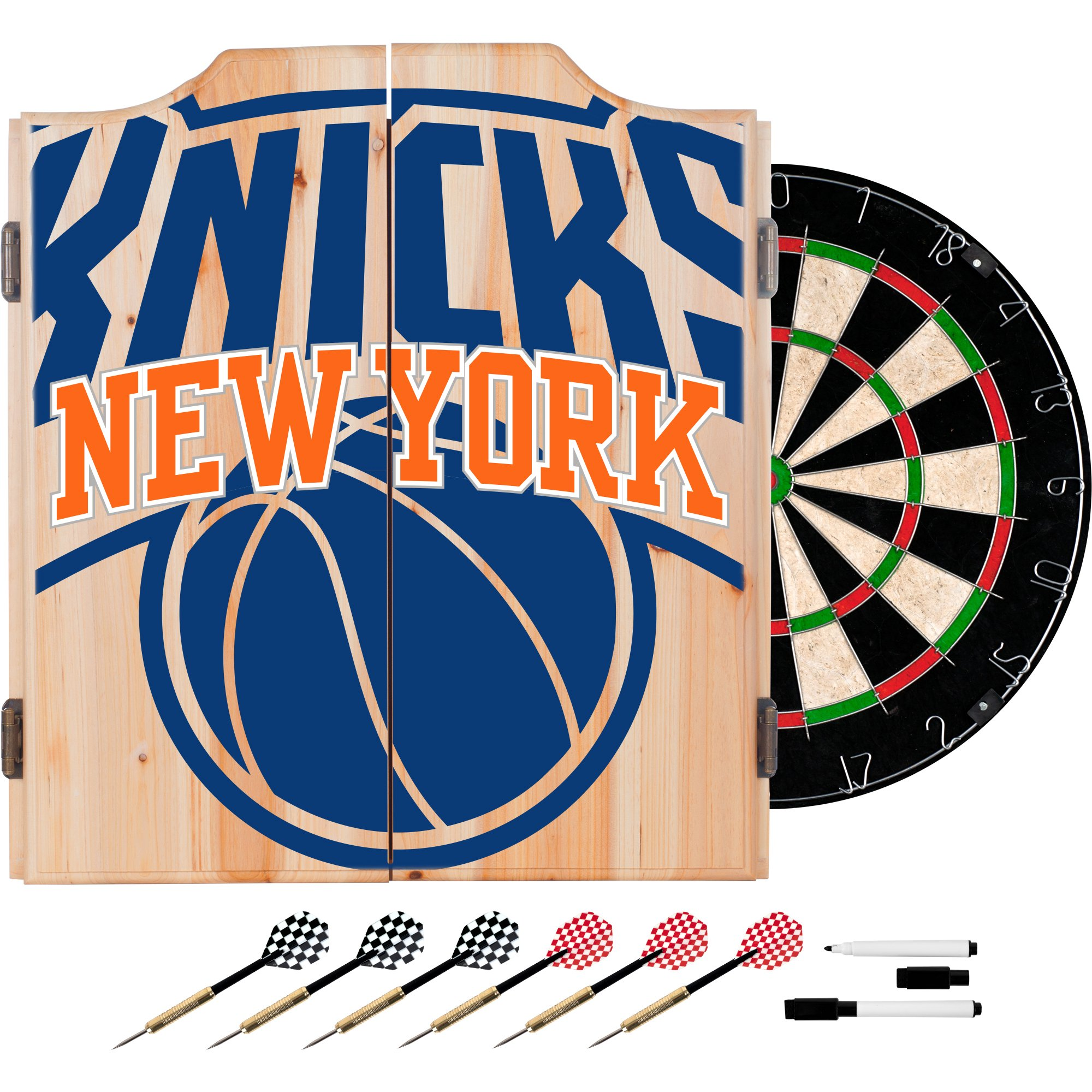 Trademark Gameroom NBA7010-NY2 NBA Dart Cabinet Set with Darts & Board - Fade - New York Knicks