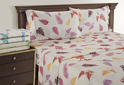 Linenwalas King Size Bed Sheets   Fern Pattern Bedding For Teen Girls | 300  Thread Count
