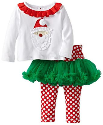 dc4bd3282 Amazon.com: Mud Pie Baby-Girls Newborn Santa Pettiskirt Set, Multi ...