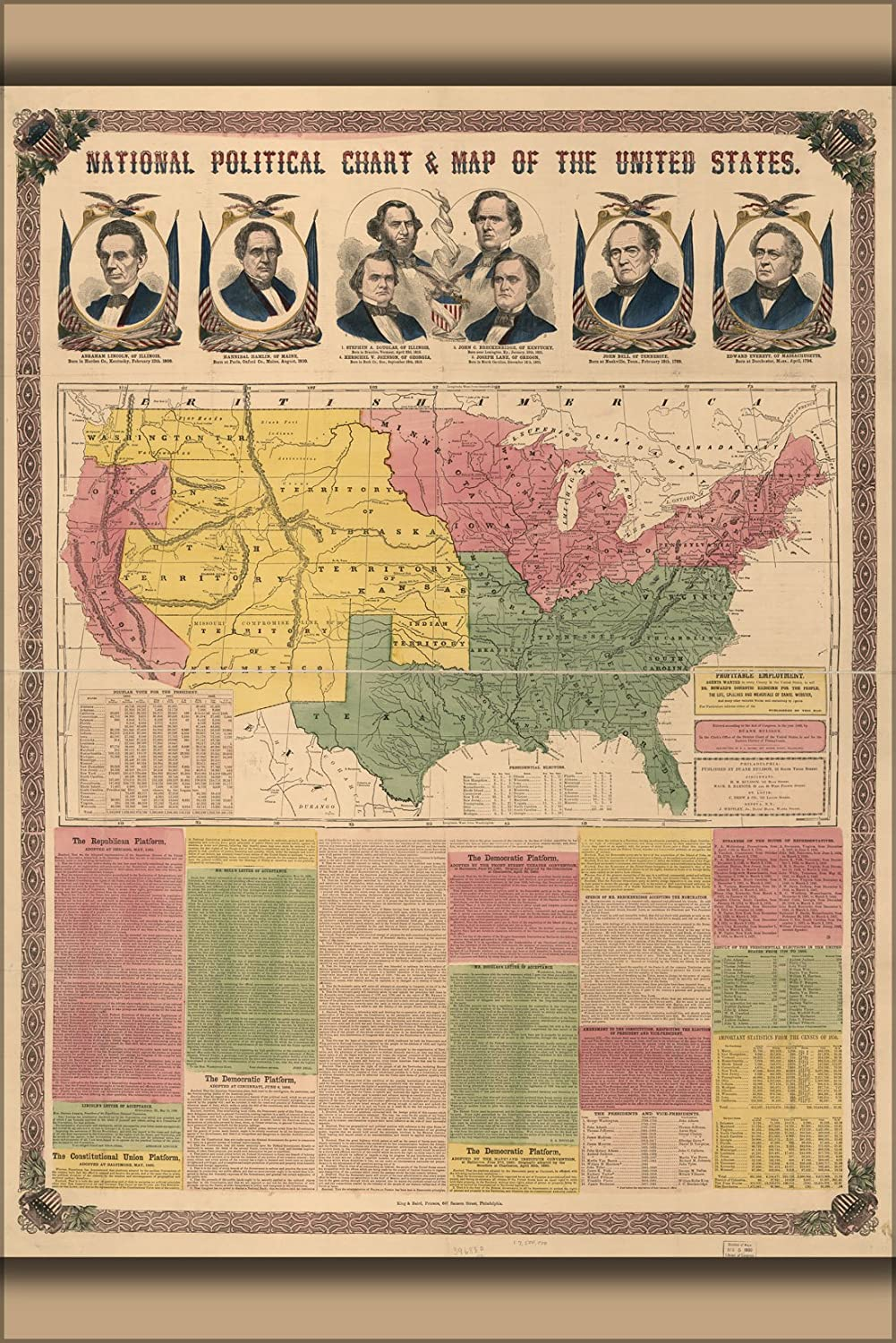 Amazon Com 20x30 Poster Political Chart Map Of The United