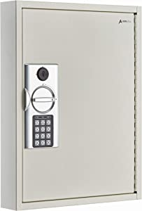 AdirOffice 60 Hooks Key Cabinet with Digital Lock - Heavy Duty Secured Storage, Steel- Ideal for Homes Hotels Schools & Businesses (White)
