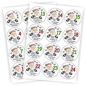 Play Too 24 Aufkleber Weihnachtsmann Mit Sprüchen Spruch Für