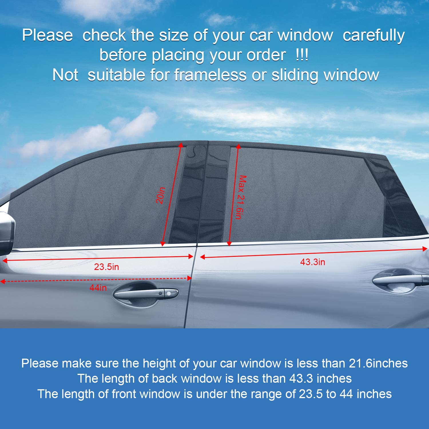 4 Pieces Car Window Shade Car Side Rear Sun Shade Car Window Curtains with UV Protection for Front Window and Back Window