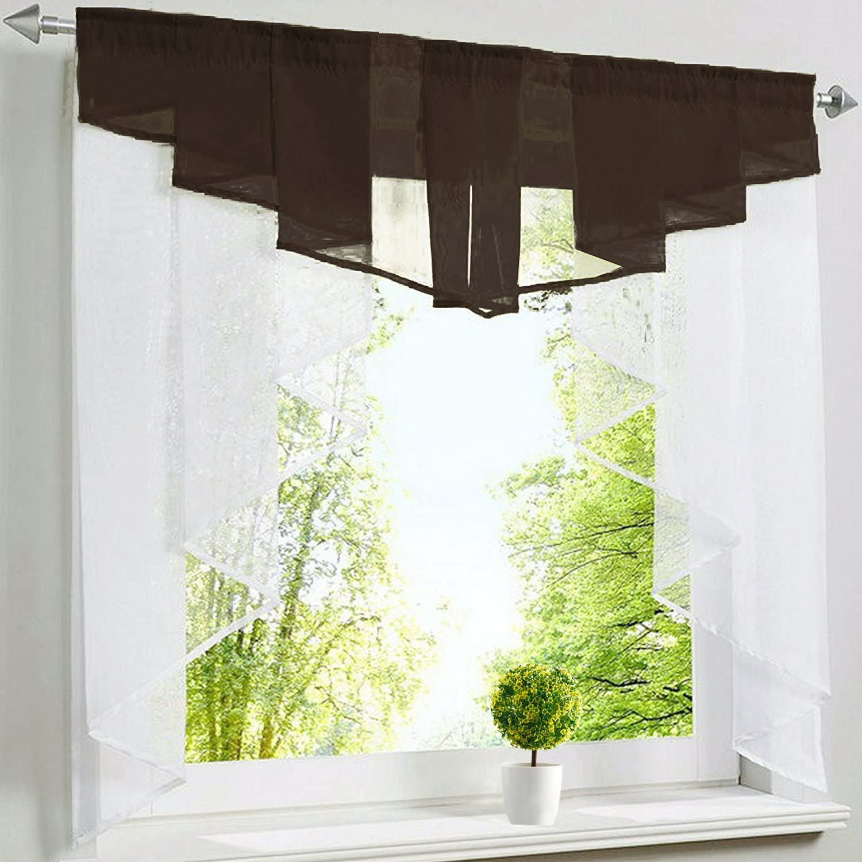 per finestre di piccole dimensioni. BxH 80x80cm caff/è Tessuto Tenda di velo a pieghe con cordoncino