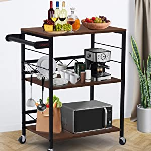 DORPU Bar Cart, 3-Tier Sturdy Kitchen Cart with Wheels Durable Microwave Cart for Dinners and Barbecues and Kitchen Storage