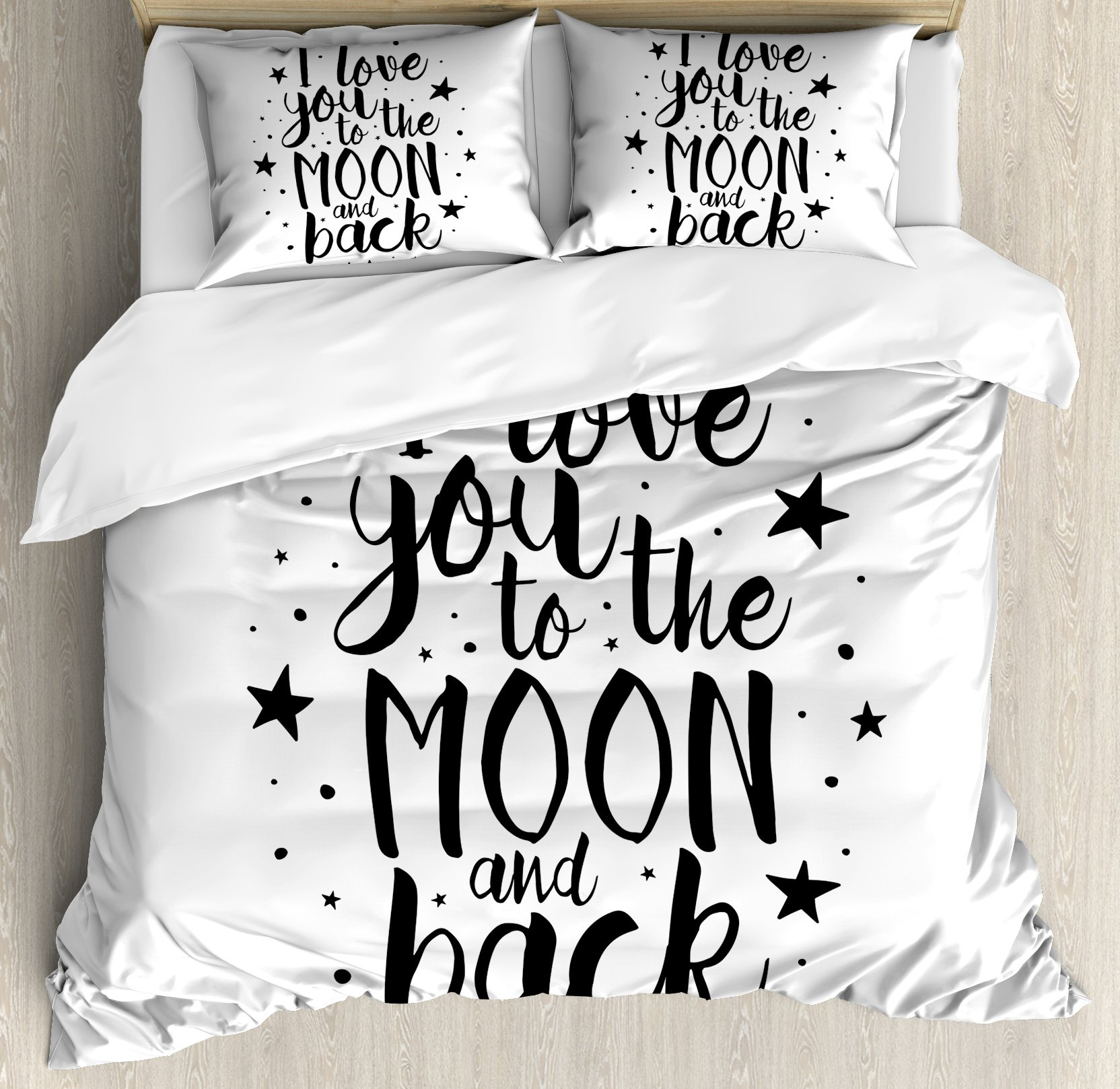 I Love You Queen Size Duvet Cover Set by Ambesonne, Romantic I Love You to the Moon and Back Motivational Lifestyle Quote Print, Decorative 3 Piece Bedding Set with 2 Pillow Shams, Black White