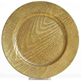 "Efavormart 13"" Round Wooden Textured Gold Acrylic Charger Plates Wedding Party Dinner Servers - Set of 24"