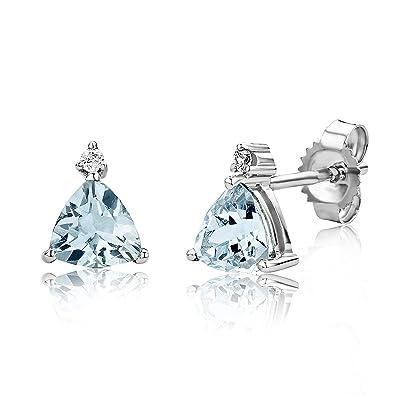Miore Earrings Women studs Aquamarine with Brilliant Cut Diamonds White Gold 9 Kt/375 It3cAsXJ
