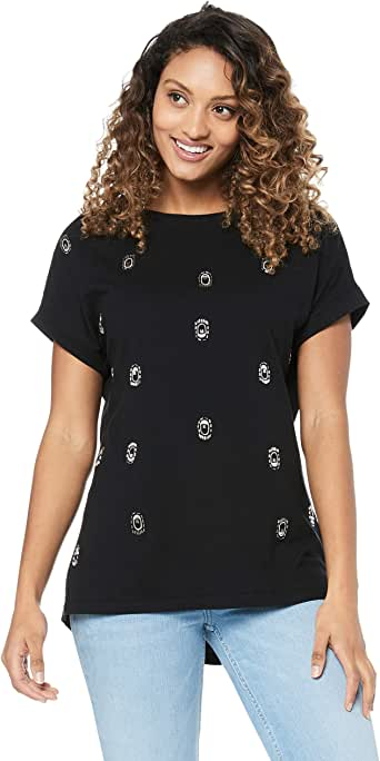 French Connection Women's Circle Beaded TEE, Black/Multi