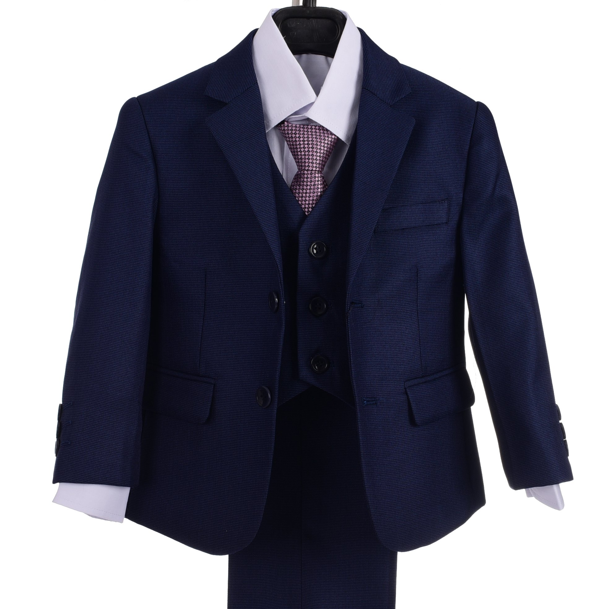 Dressy Daisy Boys Formal Dress Suits 5 Pcs Set Modern Fit Wedding Outfit Dresswear Size 2T Navy Blue