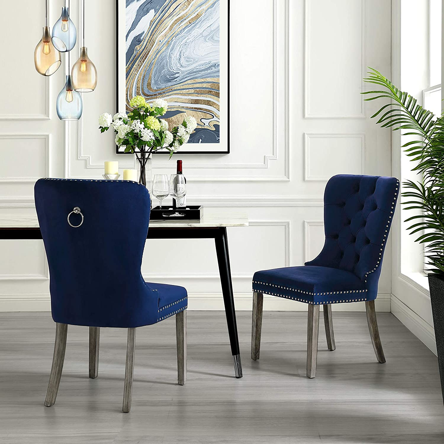 InspiredHome Navy Velvet Dining Chair - Design: Brielle | Set of 2 | Tufted | Ring Handle | Chrome Nailhead Finish