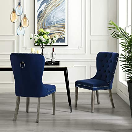 Remarkable Amazon Com Inspiredhome Navy Velvet Dining Chair Design Bralicious Painted Fabric Chair Ideas Braliciousco