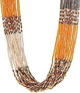 African Beads Long Necklace Multi Colour Hand Made African Necklace