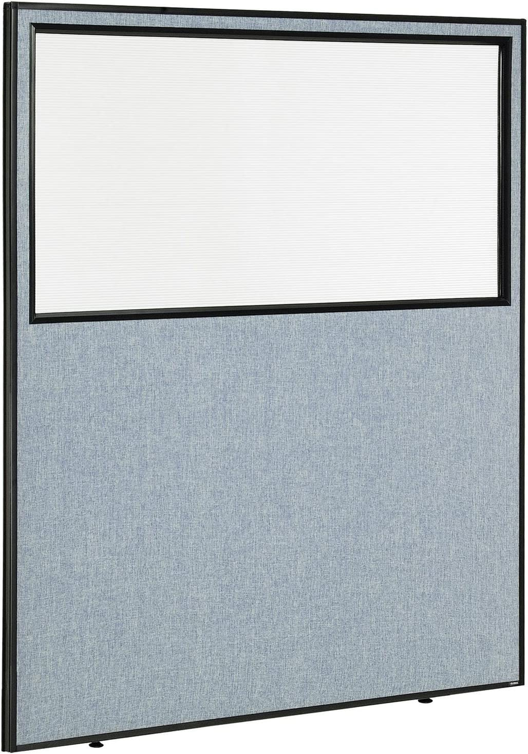 "60-1/4""W x 72""H Office Partition Panel with Partial Window, Blue"