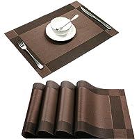 Placemat,U'Artlines Crossweave Woven Vinyl Non-Slip Insulation Placemat Washable Table Mats (4pcs placemats, Brown)