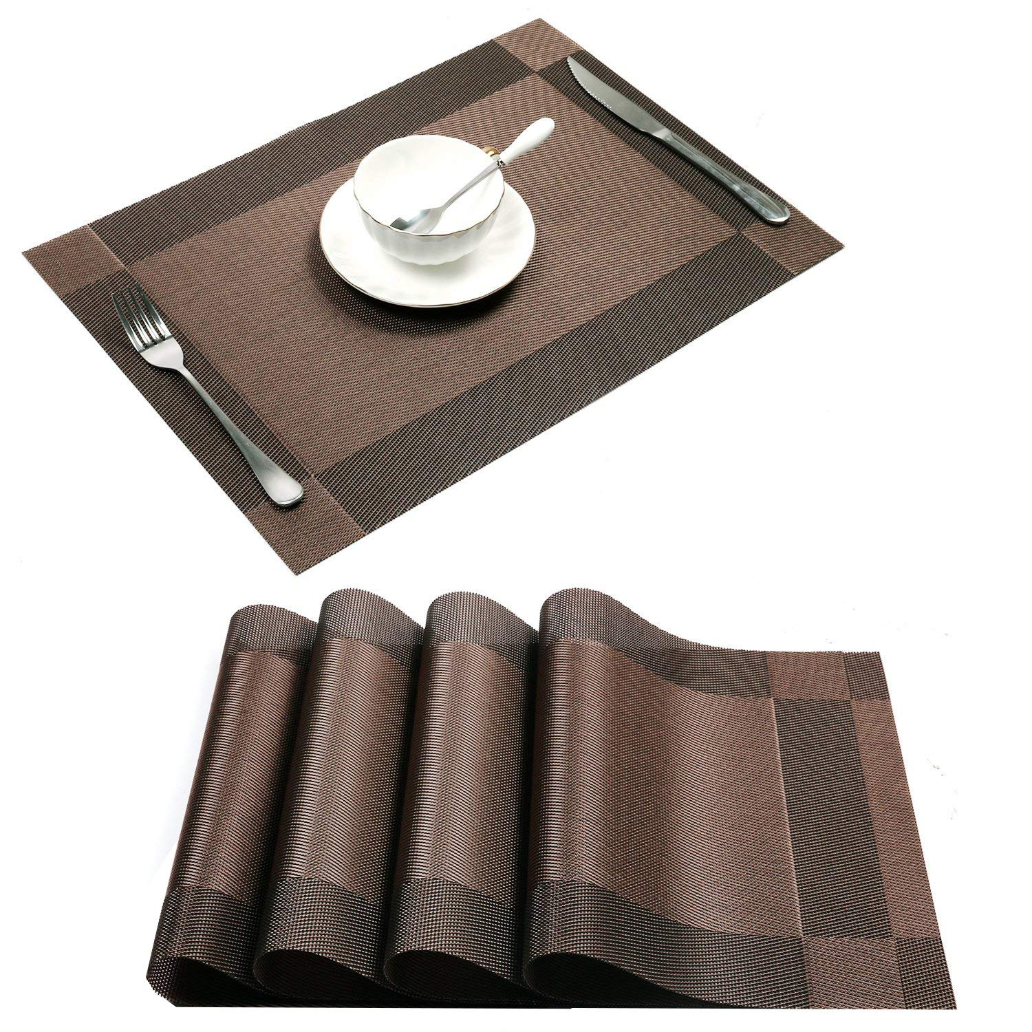 U'Artlines Placemat, Crossweave Woven Vinyl Non-Slip Insulation Placemat Washable Table Mats (Brown, 4pcs placemats)