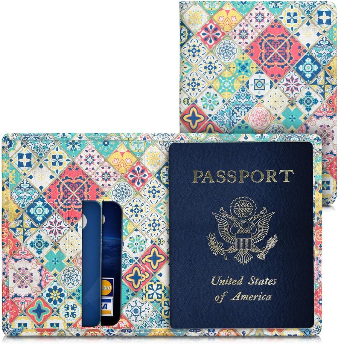 kwmobile Funda para Pasaporte de Cuero sintético Compatible con Pasaporte DNI - Estuche con Ranuras para Tarjetas y Azulejos: Amazon.es: Equipaje