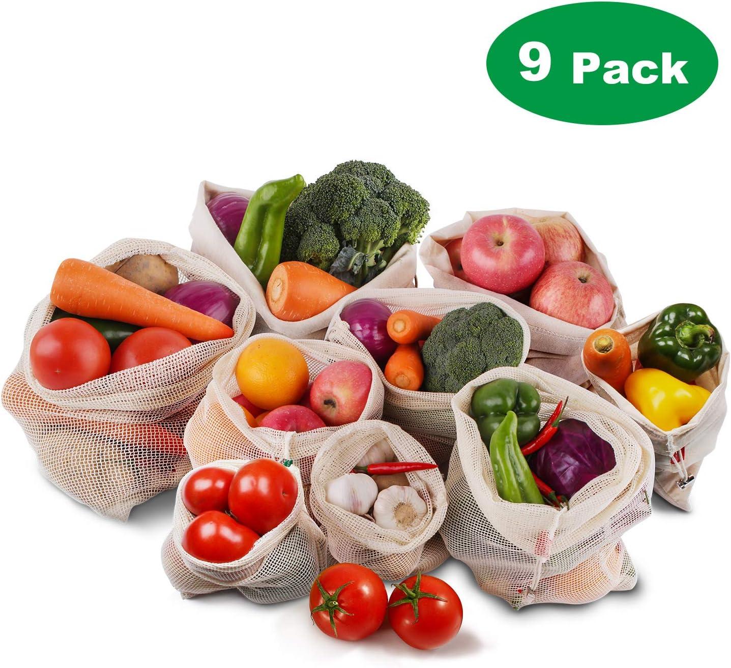 Bolsa de Producción Reutilizable,Roleadro 9 piezas Bolsas de Malla de algodón Reutilizables Lavable y Transpirable Bolsas ecológicas para Almacenamiento de alimentos Frutas Verduras y Juguetes