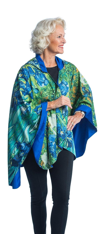 RainCaper for Women-Reversible Waterproof Hooded Cape in Ultrasoft Fashion Color