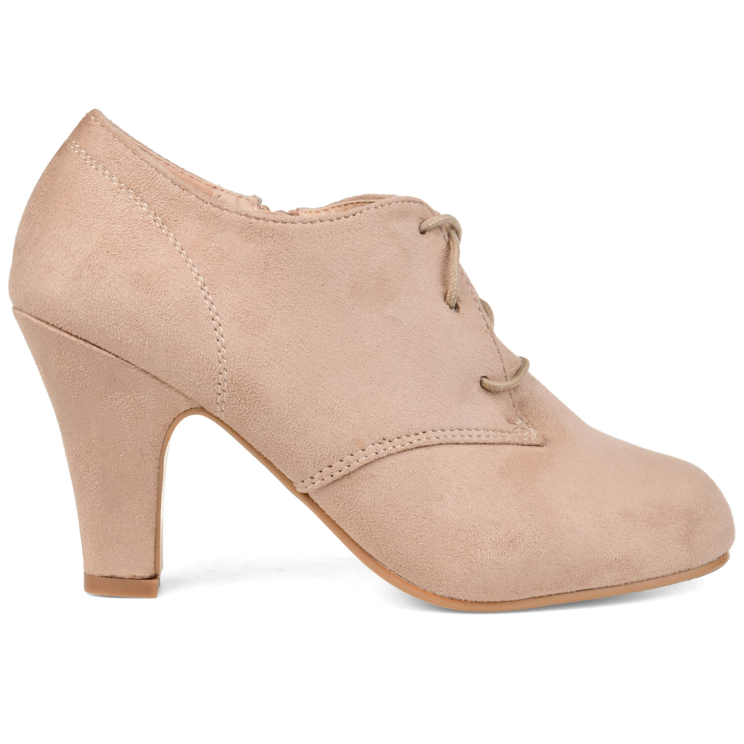 Brinley Co. Womens Vintage Round Toe High Heel Lace-up Faux Suede Booties Taupe, 7 Wide US
