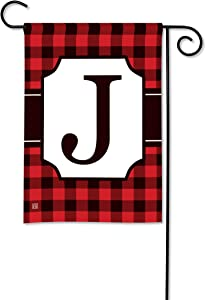 BreezeArt Studio M Buffalo Check Monogram J Garden Flag - Premium Quality, 12.5 x 18 Inches