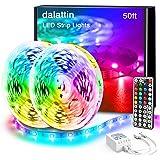 Dalattin Led Lights for Bedroom 50FT RGB 5050 Led Strip Lights Color Changing Kit with 44 Keys Remote Controller and 12V…