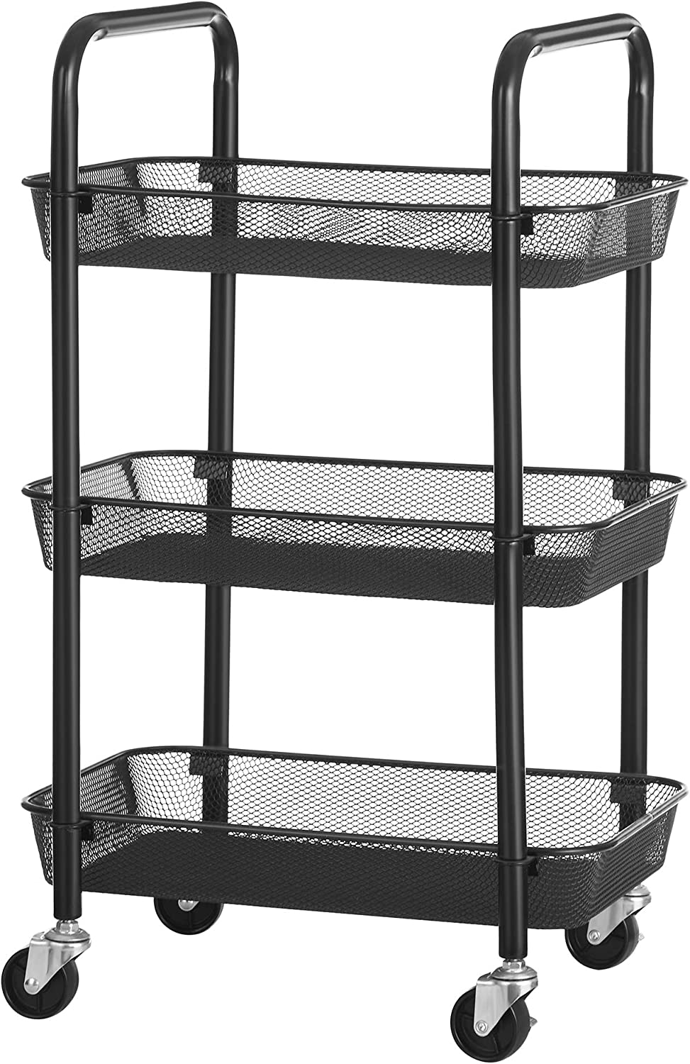SONGMICS Rolling Cart, 3-Tier Metal Storage Cart, Kitchen Storage Trolley with 2 Brakes, Utility Cart with Handles, Easy Assembly, for Bathroom, Kitchen, Office, Black UBSC062B01