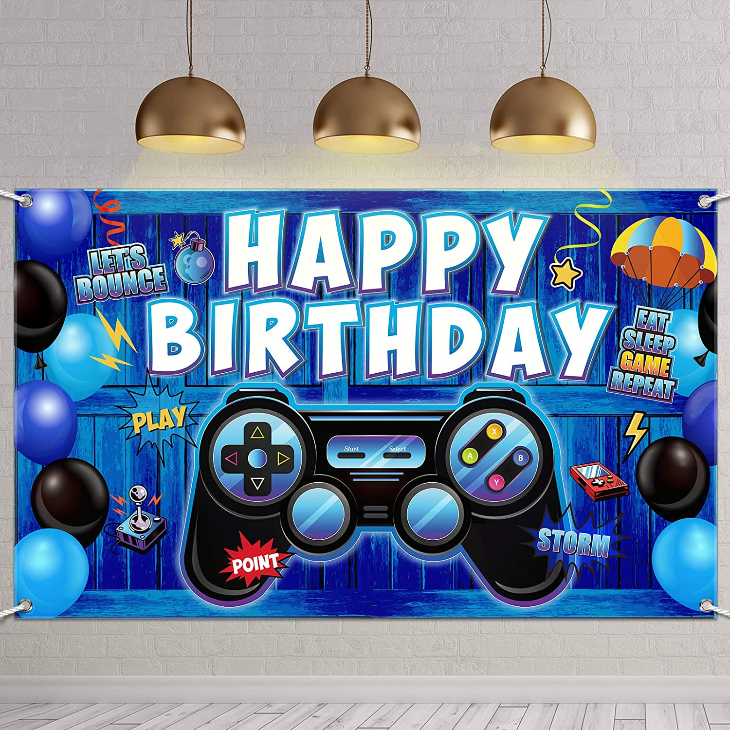 Video Game Happy Birthday Backdrop Game on Birthday Party Backdrop Banner Gaming Theme Party Photography Background Photo Props for Video Game Party Wall Decorations Supplies (Blue Wooden)