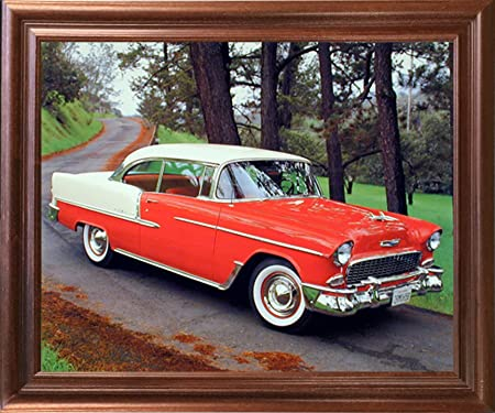 Amazon Com Framed Wall Decor Picture 1955 Chevy Bel Air Hard Top Classic Red Vintage Car Mahogany Art Print 18x22 Posters Prints