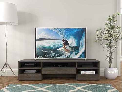 Nexera Rustik, 1 Drawer, Bark Grey 72-inch TV Stand, Laminate Finish