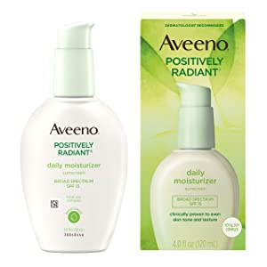 Aveeno Positively Radiant Daily Facial Moisturizer with Broad Spectrum SPF 15 Sunscreen & Total Soy Complex for Even Tone & Texture, Hypoallergenic, Oil-Free & Non-Comedogenic, 4 fl. oz