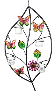 ABC Home Living 50812 Wanddeko Blatt Mit Kerzenhalter Wandekoration Metall Lila Grn