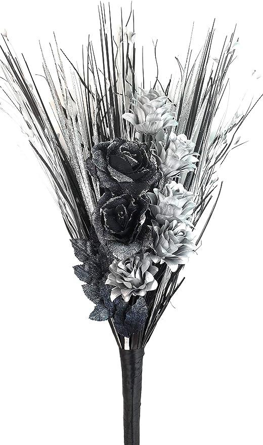 SILVER GLITTER VASE HANDMADE ARTIFICIAL SILK SILVER BLACK /& WHITE FLOWERS