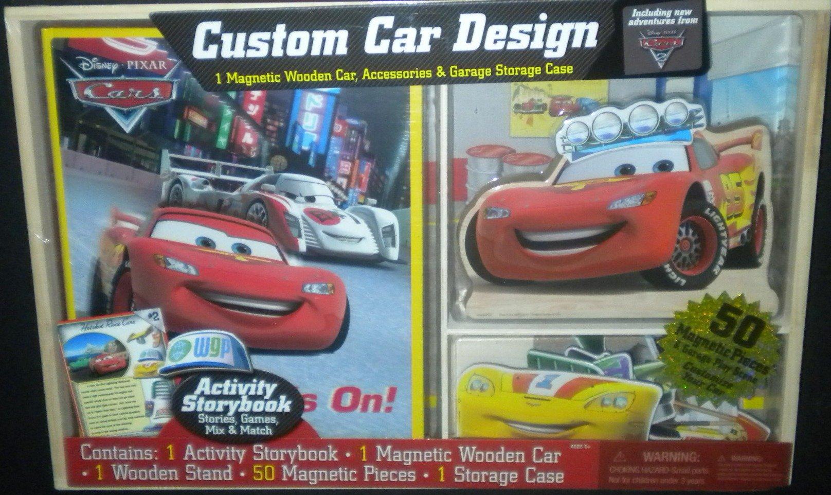 Disney Pixar Cars Custom Design Storybook Magnetic Pieces Wooden Storage Case