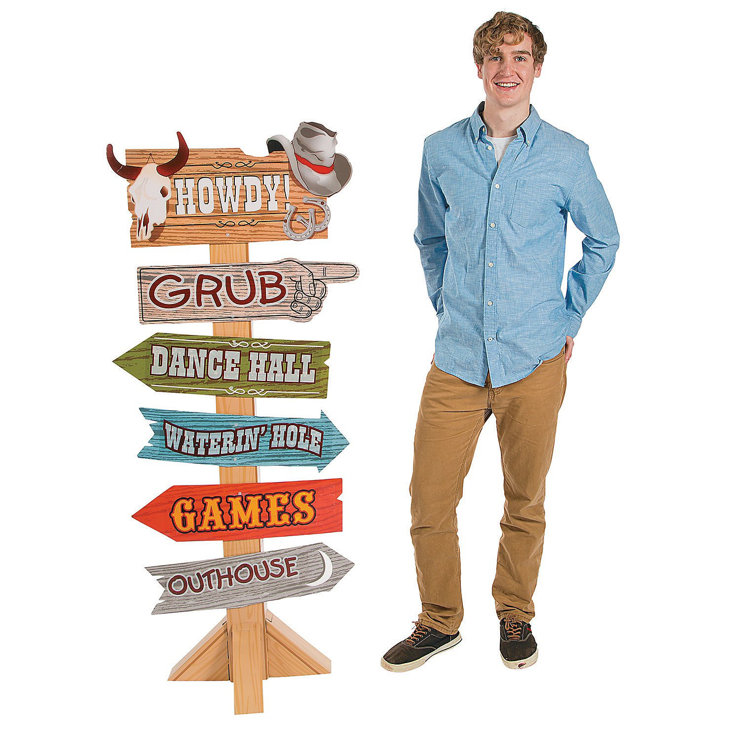 Western Party Directional Sign Cardboard Stand-Up by CusCus