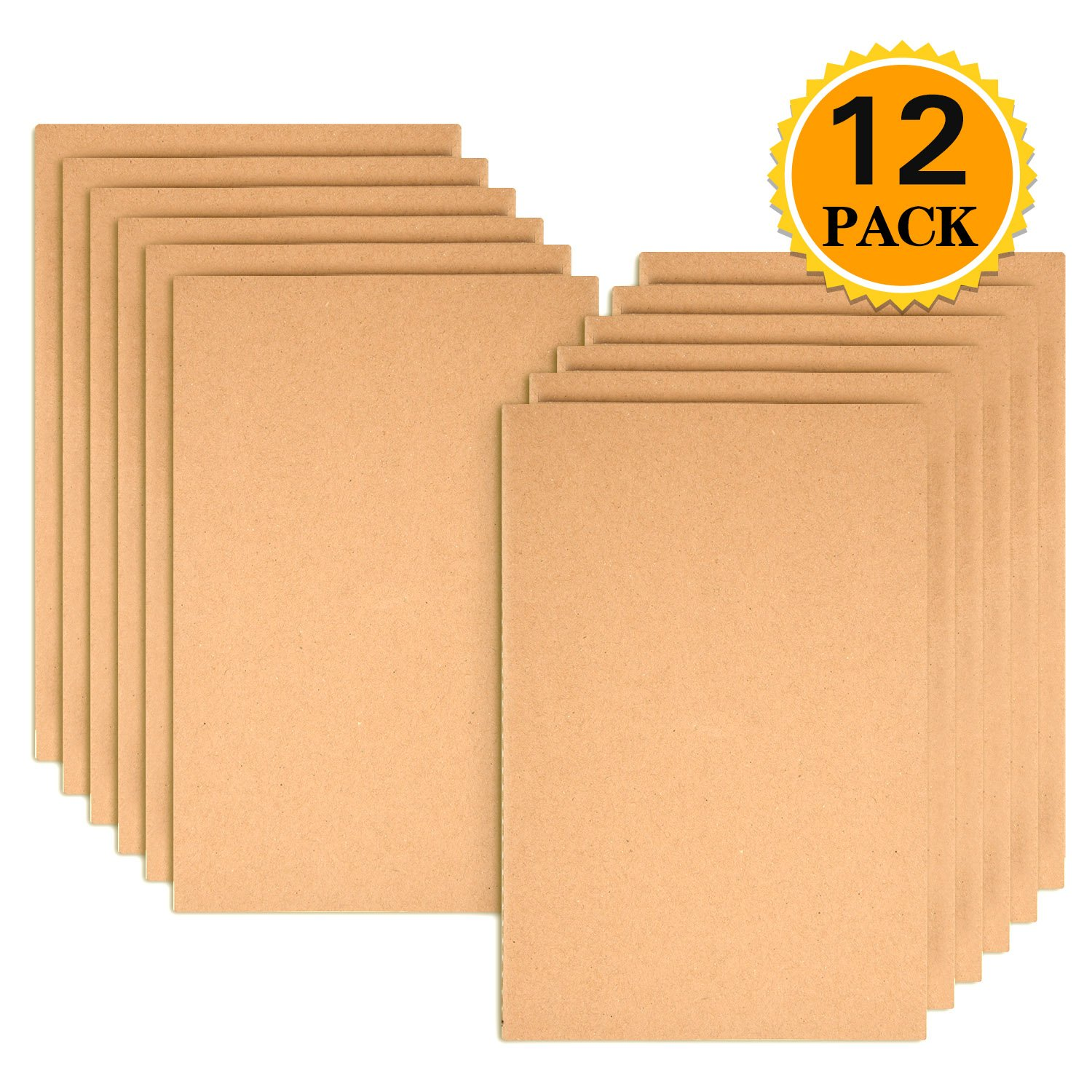 Zealor 12 Pack Notebook Journals for Travelers Kraft Brown Cover Notepad, A5 Size Paper (8.25'' x 5.5''), 30 Sheets/60 Lined Pages