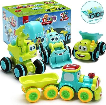 Juguetes Para Un Niño De 2 Años 4 Camiones De Fricción Para Niños De 2 Años Juego De Vehículos De Construcción De Dibujos Animados Los