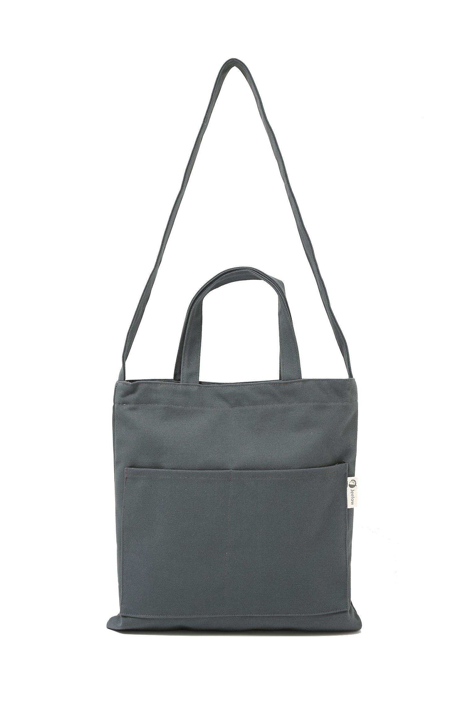 Canvas Tote Handbag Shoulder Bag Crossbody Bags Purses For Men And Women (Grey Pocket)