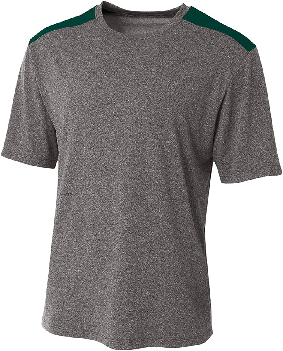 Heather//Forest A4 Tourney Heather Short Sleeve Color Block Large