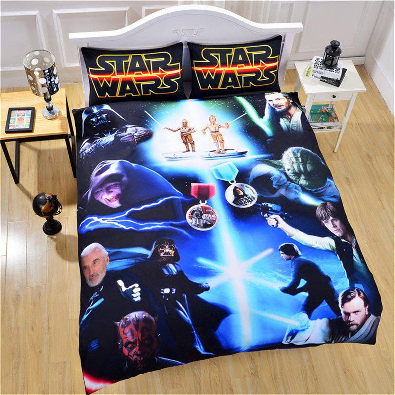 NOOS 3D Star Wars Duvet Cove Sets Kids Love Movies Bedding Set 2018 Design 100% Soft Comfortable Microfiber Bed Set Including 3PC 1Duvet Cover,2Pillowcases Twin Full Queen King Size