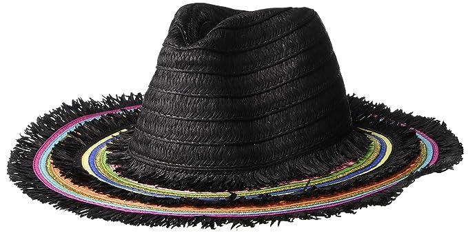 a0721e331c51c Betsey Johnson Women s Rainbow Panama Hat with Frayed Edge