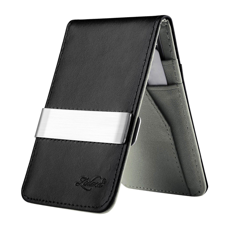 Zodaca Horizontal Genuine Leather Money Clip Wallet, Black/Gray eForCity MOTHXXXXWL05