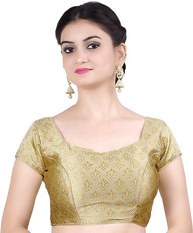 Women/'s Art Silk Readymade Blouse Top Choli Bollywood U Shape Neck Sari Blouse